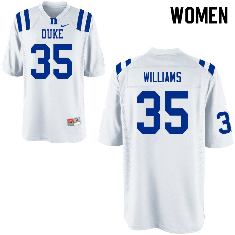 Women #35 Antone Williams Duke Blue Devils College Football Jerseys Sale-White