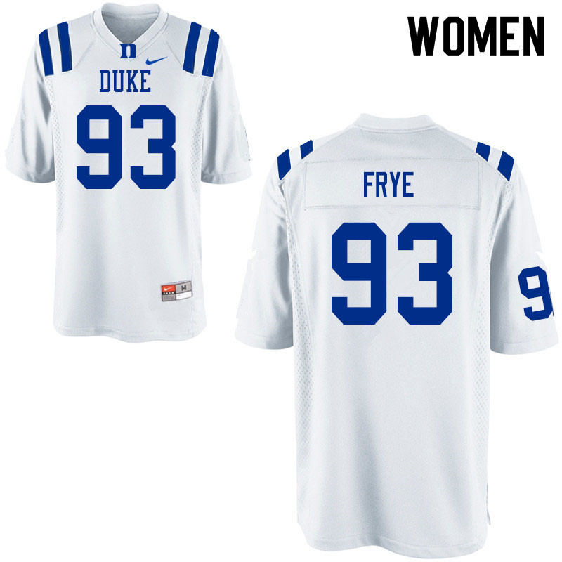 Women #93 Ben Frye Duke Blue Devils College Football Jerseys Sale-White