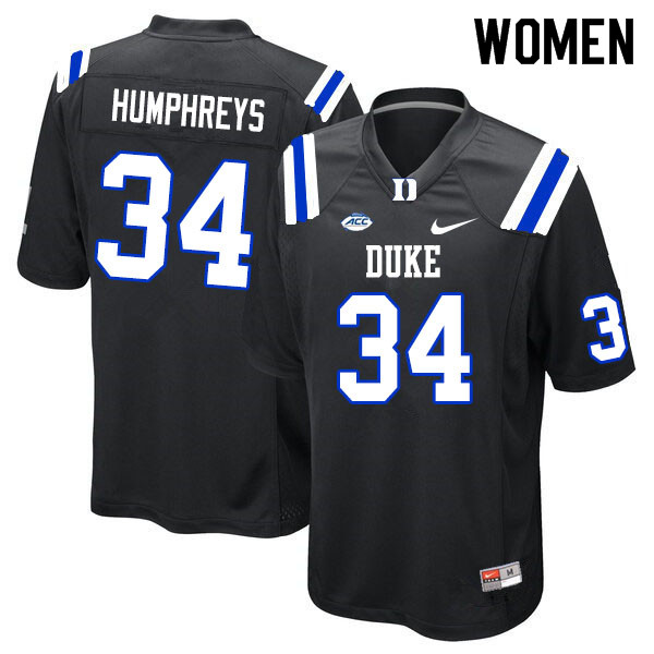Women #34 Ben Humphreys Duke Blue Devils College Football Jerseys Sale-Black