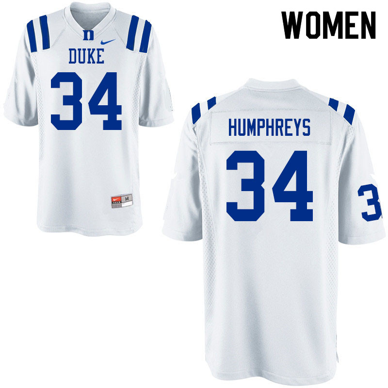Women #34 Ben Humphreys Duke Blue Devils College Football Jerseys Sale-White