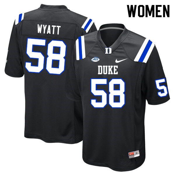 Women #58 Ben Wyatt Duke Blue Devils College Football Jerseys Sale-Black