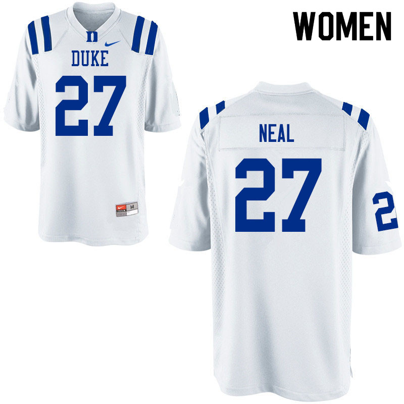 Women #27 Damani Neal Duke Blue Devils College Football Jerseys Sale-White