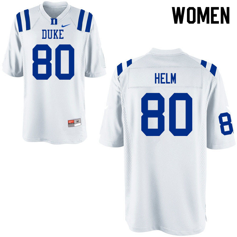 Women #80 Daniel Helm Duke Blue Devils College Football Jerseys Sale-White