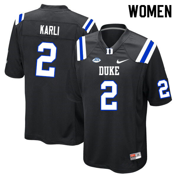 Women #2 Daniel Karlin Duke Blue Devils College Football Jerseys Sale-Black