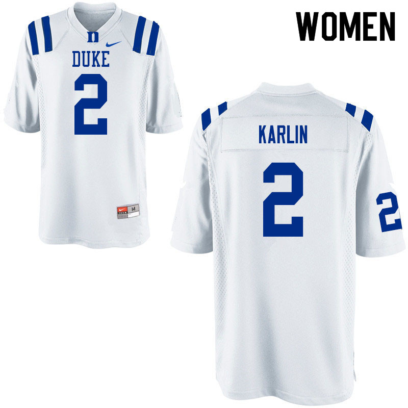 Women #2 Daniel Karlin Duke Blue Devils College Football Jerseys Sale-White