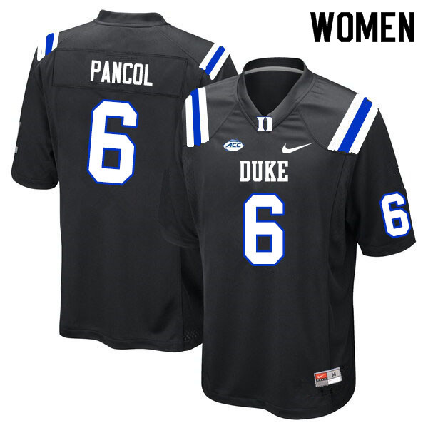 Women #6 Eli Pancol Duke Blue Devils College Football Jerseys Sale-Black