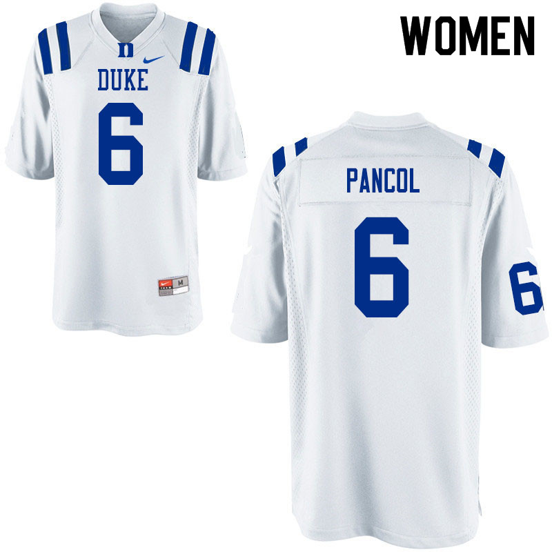 Women #6 Eli Pancol Duke Blue Devils College Football Jerseys Sale-White
