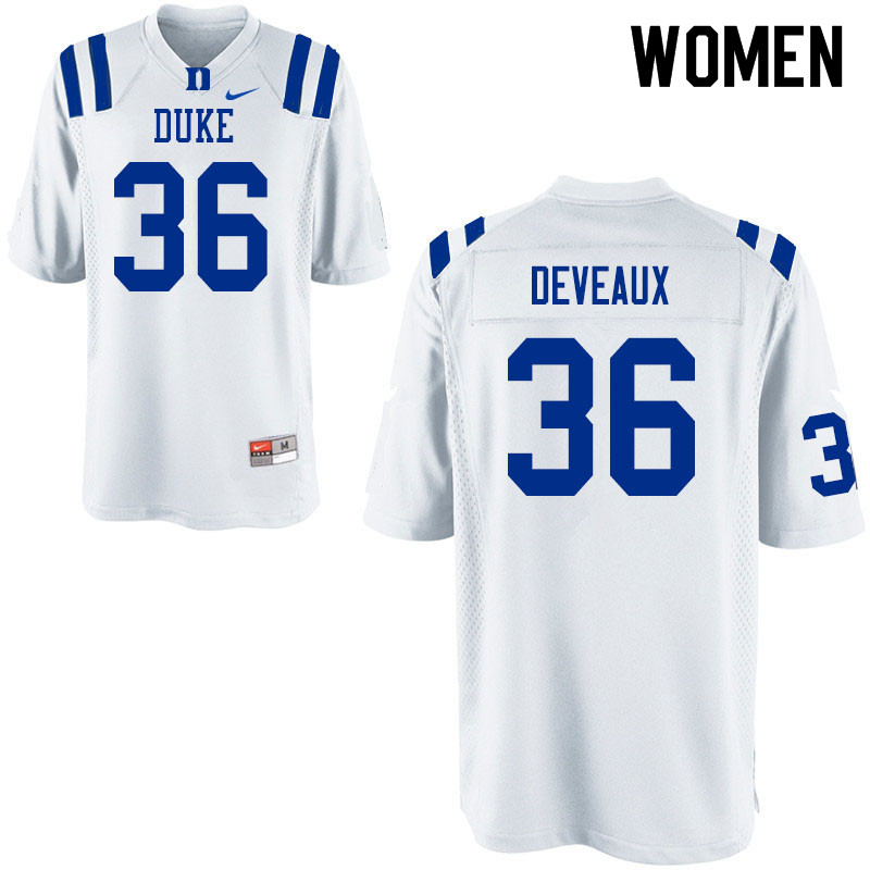 Women #36 Elijah Deveaux Duke Blue Devils College Football Jerseys Sale-White