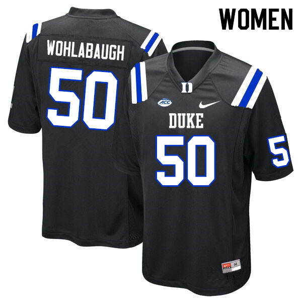 Women #50 Jack Wohlabaugh Duke Blue Devils College Football Jerseys Sale-Black