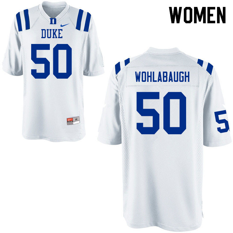 Women #50 Jack Wohlabaugh Duke Blue Devils College Football Jerseys Sale-White