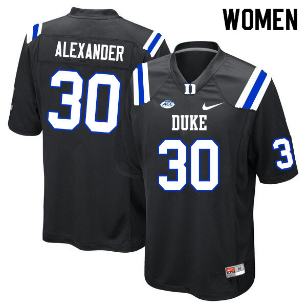 Women #30 Jalen Alexander Duke Blue Devils College Football Jerseys Sale-Black