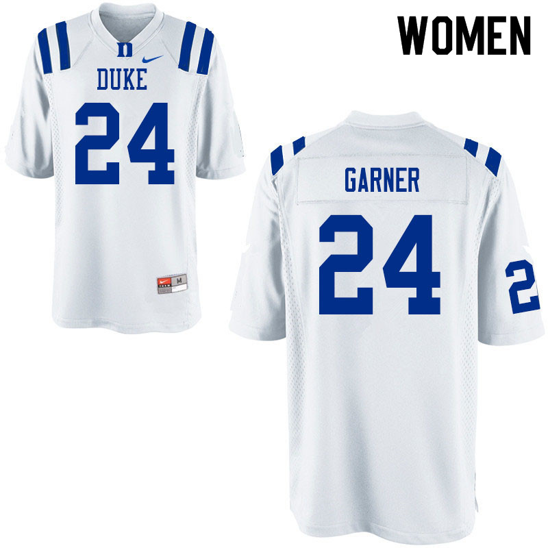 Women #24 Jarett Garner Duke Blue Devils College Football Jerseys Sale-White