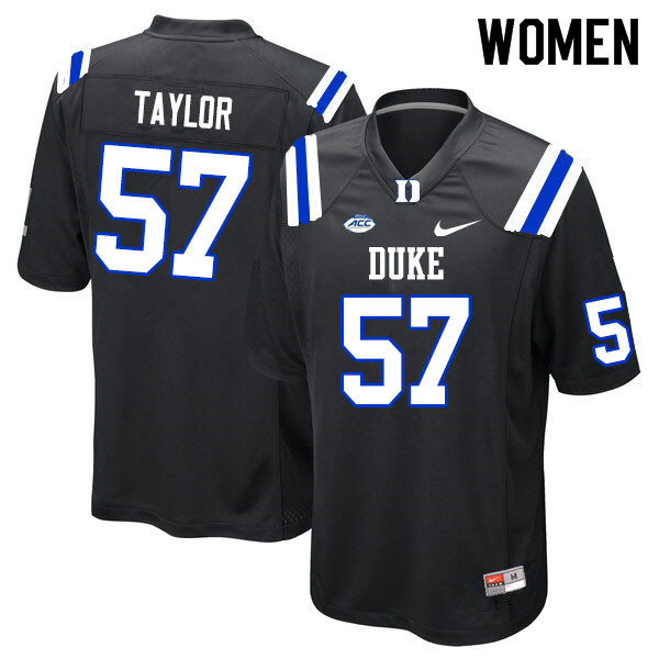 Women #57 John Taylor Duke Blue Devils College Football Jerseys Sale-Black