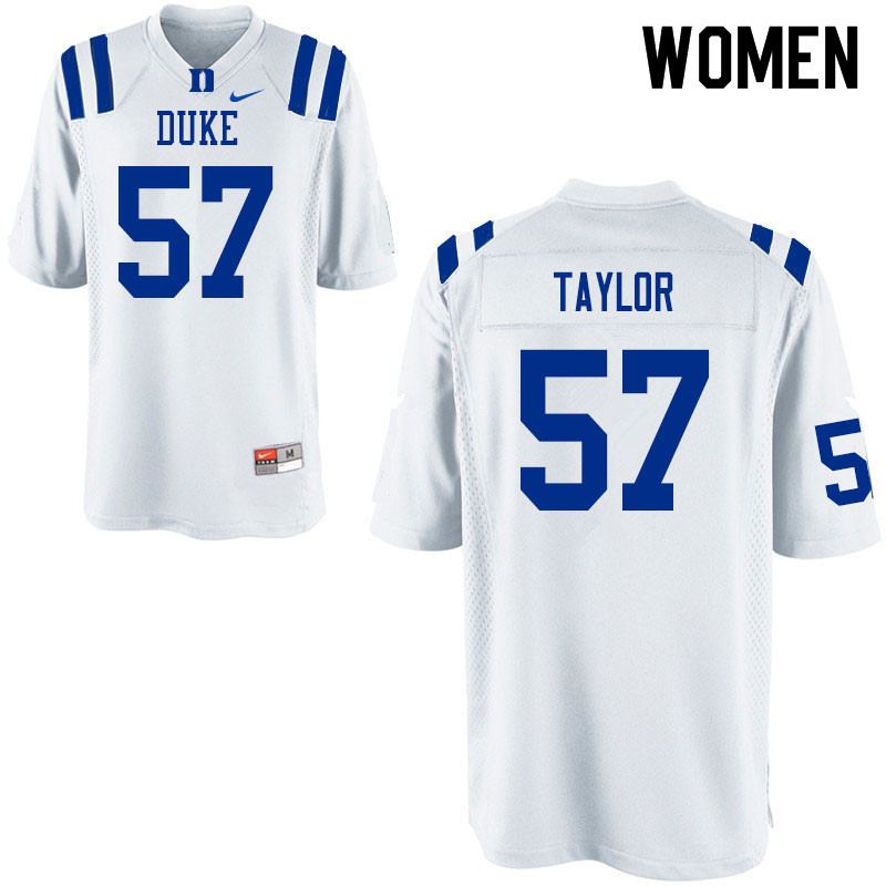 Women #57 John Taylor Duke Blue Devils College Football Jerseys Sale-White