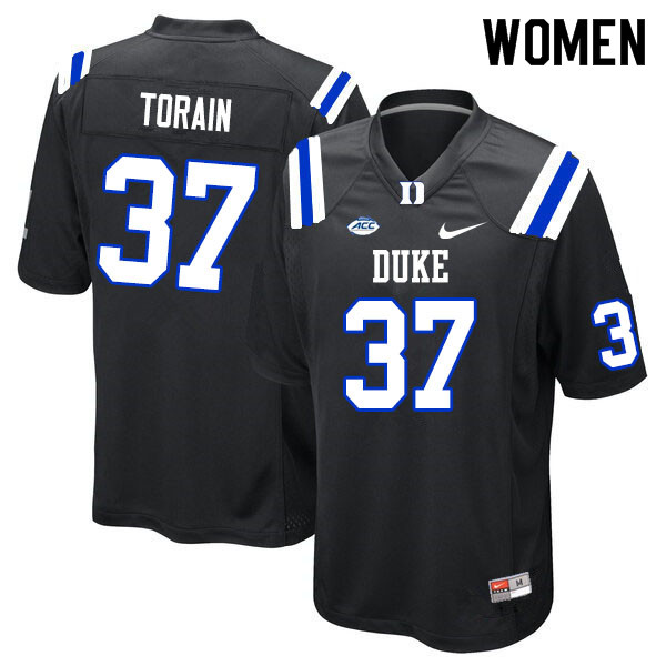 Women #37 Ken Torain Duke Blue Devils College Football Jerseys Sale-Black
