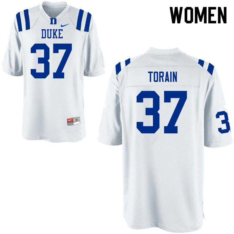 Women #37 Ken Torain Duke Blue Devils College Football Jerseys Sale-White