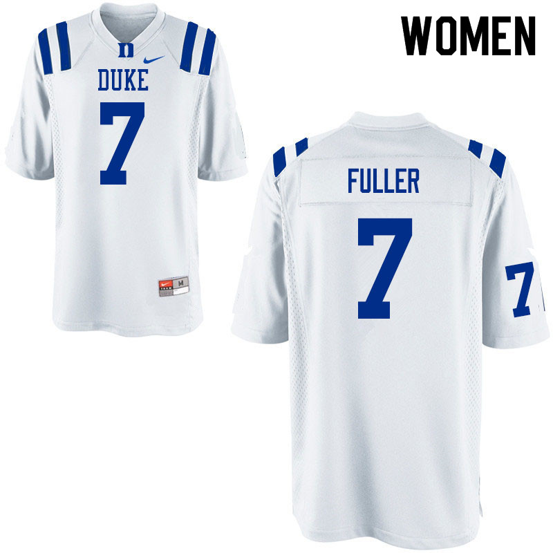 Women #7 Keyston Fuller Duke Blue Devils College Football Jerseys Sale-White