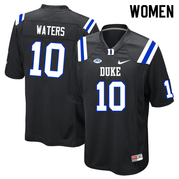 Women #10 Marquis Waters Duke Blue Devils College Football Jerseys Sale-Black