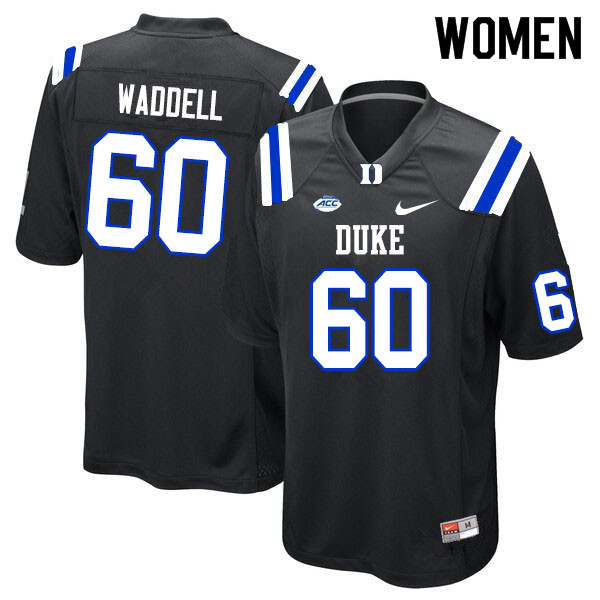 Women #60 Noah Waddell Duke Blue Devils College Football Jerseys Sale-Black