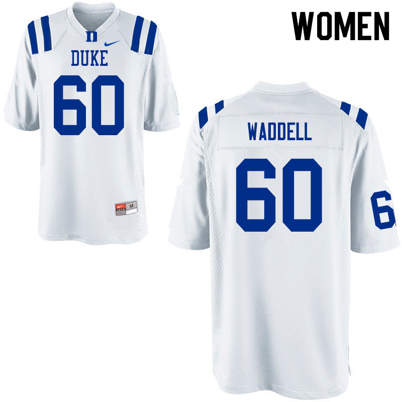 Women #60 Noah Waddell Duke Blue Devils College Football Jerseys Sale-White