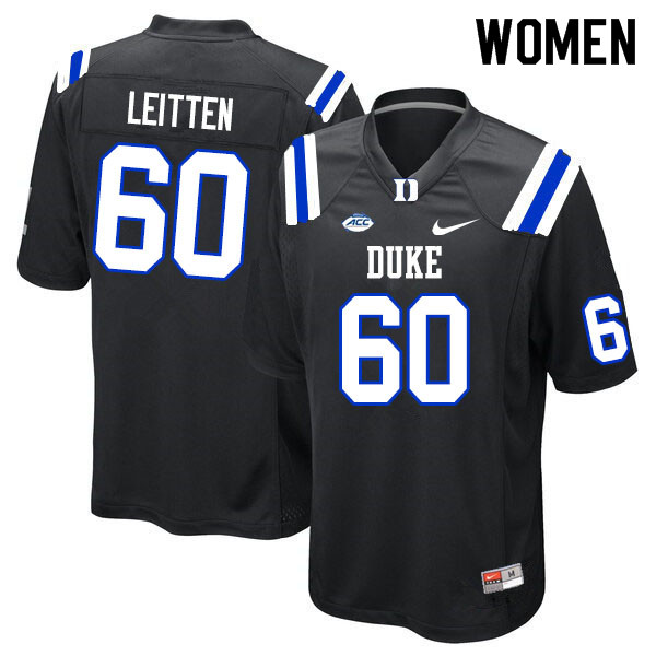 Women #60 Patrick Leitten Duke Blue Devils College Football Jerseys Sale-Black