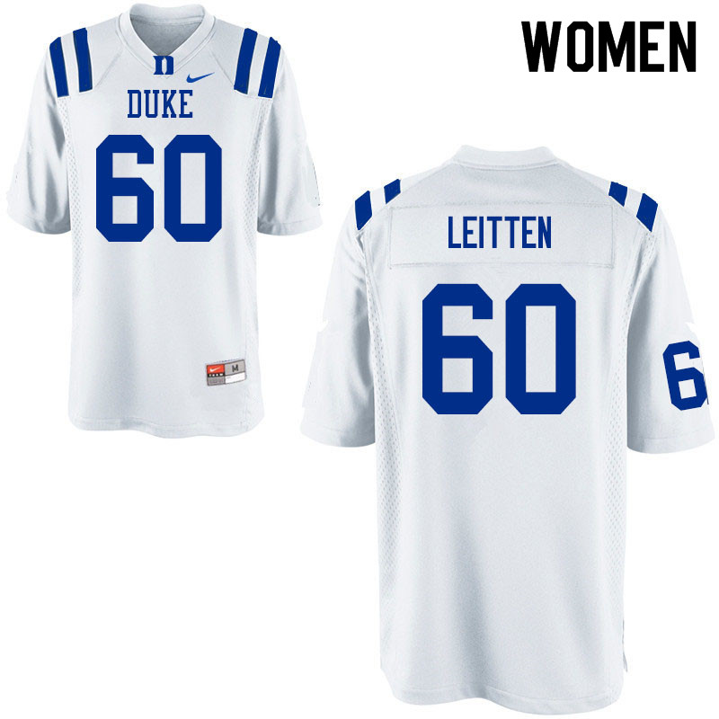 Women #60 Patrick Leitten Duke Blue Devils College Football Jerseys Sale-White