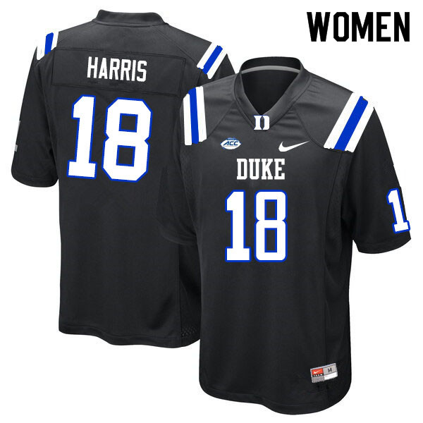 Women #18 Quentin Harris Duke Blue Devils College Football Jerseys Sale-Black