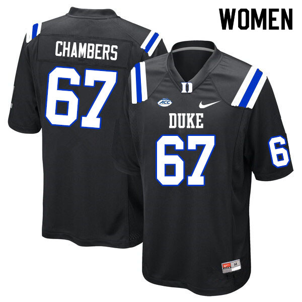 Women #67 Rakavius Chambers Duke Blue Devils College Football Jerseys Sale-Black