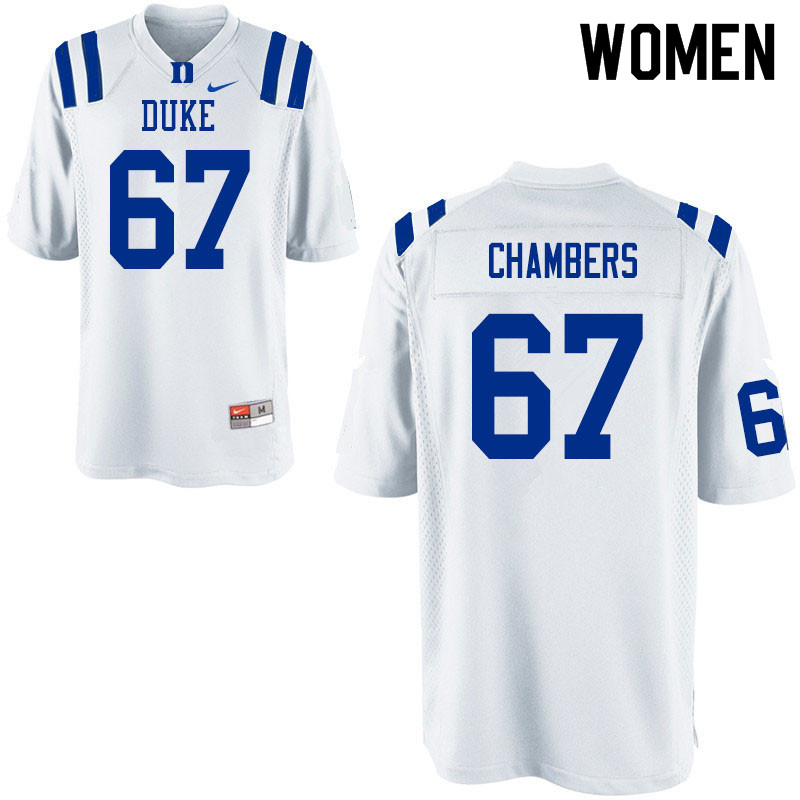 Women #67 Rakavius Chambers Duke Blue Devils College Football Jerseys Sale-White