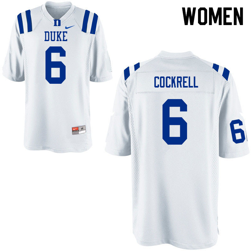 Women #6 Ross Cockrell Duke Blue Devils College Football Jerseys Sale-White
