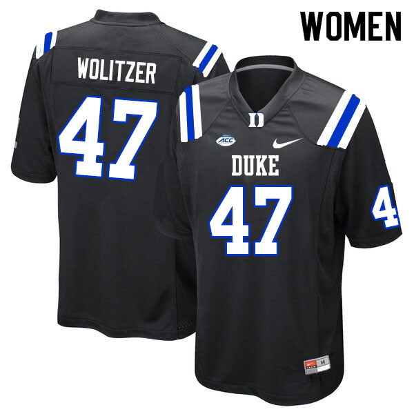 Women #47 Ryan Wolitzer Duke Blue Devils College Football Jerseys Sale-Black