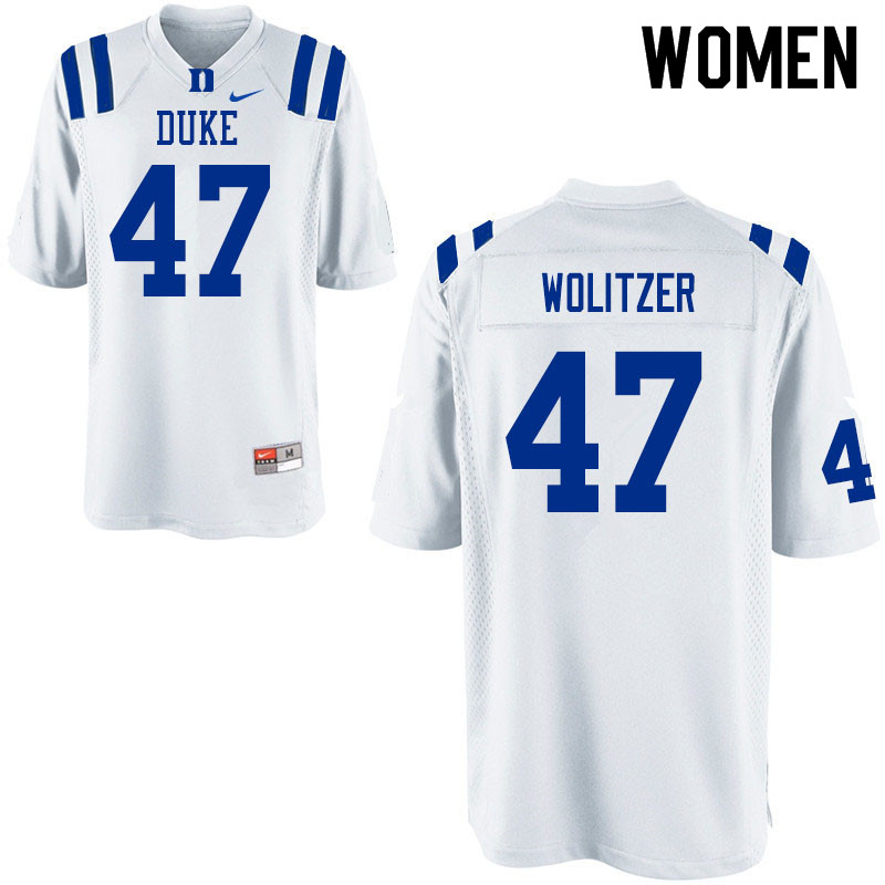 Women #47 Ryan Wolitzer Duke Blue Devils College Football Jerseys Sale-White