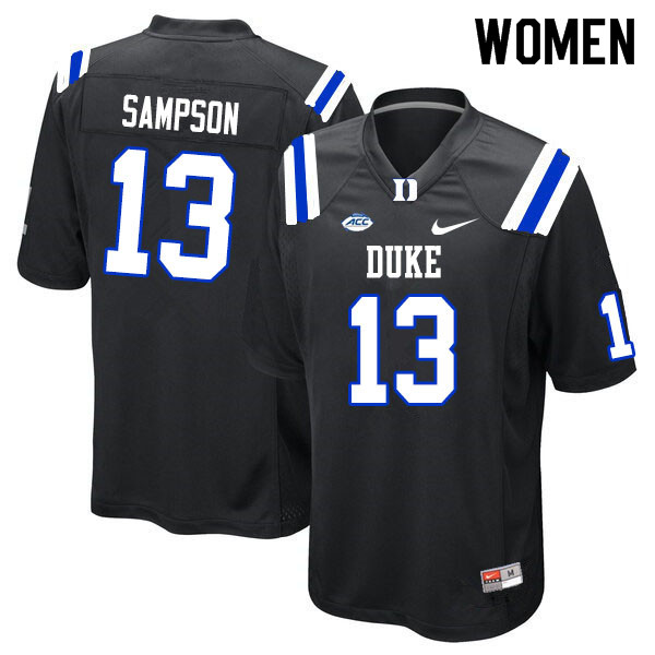 Women #13 Sayvon Sampson Duke Blue Devils College Football Jerseys Sale-Black