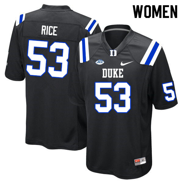 Women #53 Tahj Rice Duke Blue Devils College Football Jerseys Sale-Black