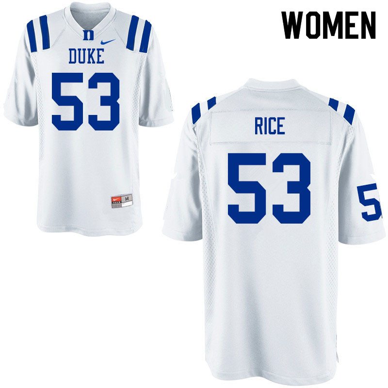 Women #53 Tahj Rice Duke Blue Devils College Football Jerseys Sale-White