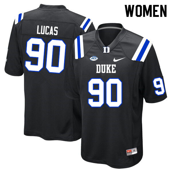Women #90 Terrell Lucas Duke Blue Devils College Football Jerseys Sale-Black