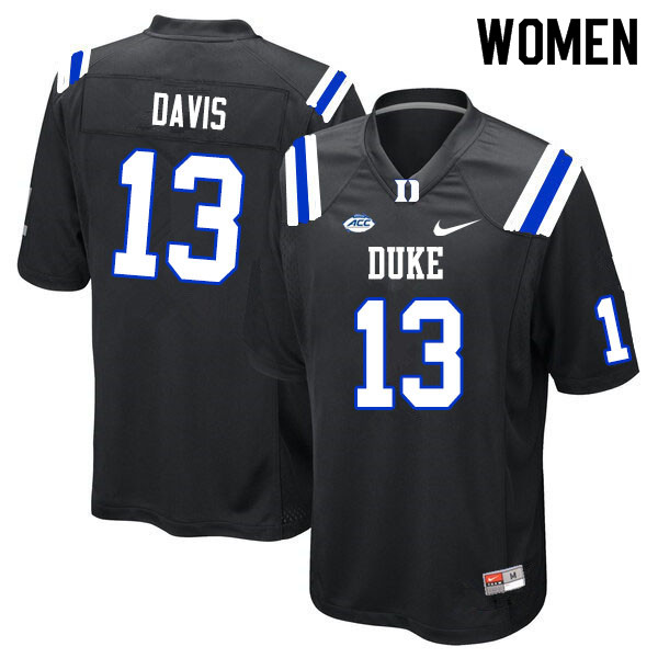 Women #13 Tony Davis Duke Blue Devils College Football Jerseys Sale-Black