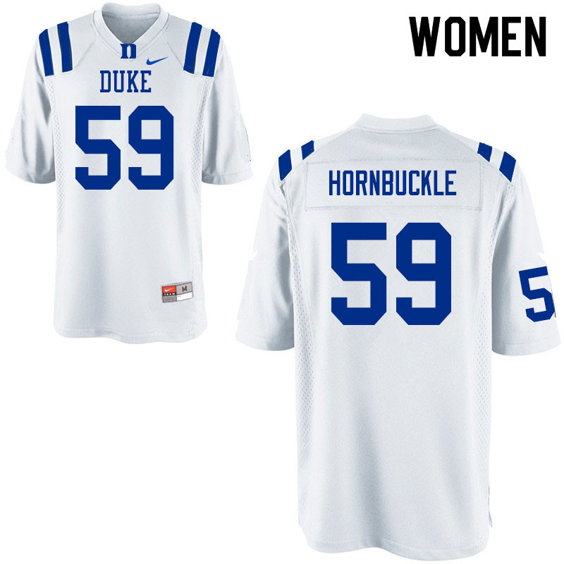 Women #59 Tre Hornbuckle Duke Blue Devils College Football Jerseys Sale-White