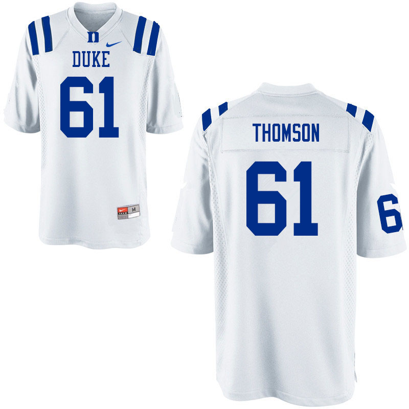 Women #61 Zach Thomson Duke Blue Devils College Football Jerseys Sale-White