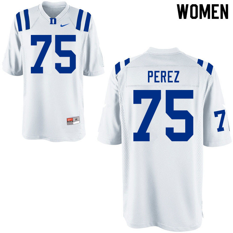 Women #75 Calib Perez Duke Blue Devils College Football Jerseys Sale-White
