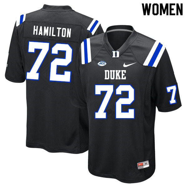 Women #72 Devery Hamilton Duke Blue Devils College Football Jerseys Sale-Black