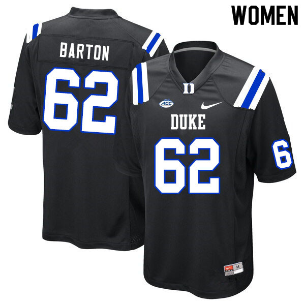 Women #62 Graham Barton Duke Blue Devils College Football Jerseys Sale-Black