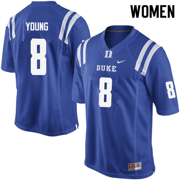 Women #8 Aaron Young Duke Blue Devils College Football Jerseys Sale-Blue