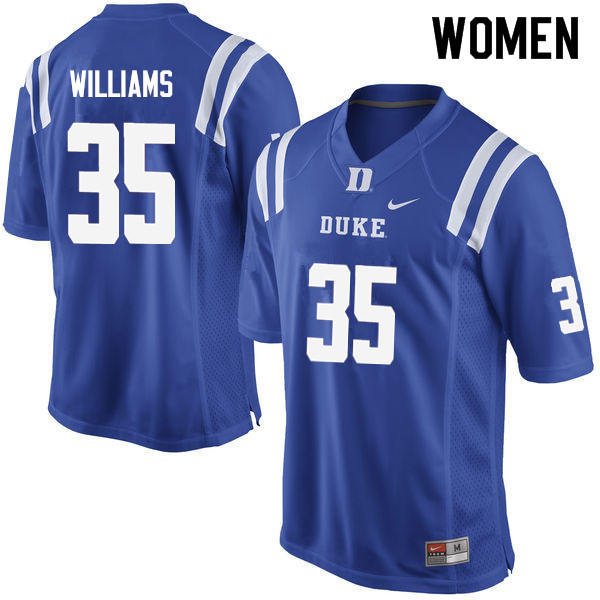 Women #35 Antone Williams Duke Blue Devils College Football Jerseys Sale-Blue