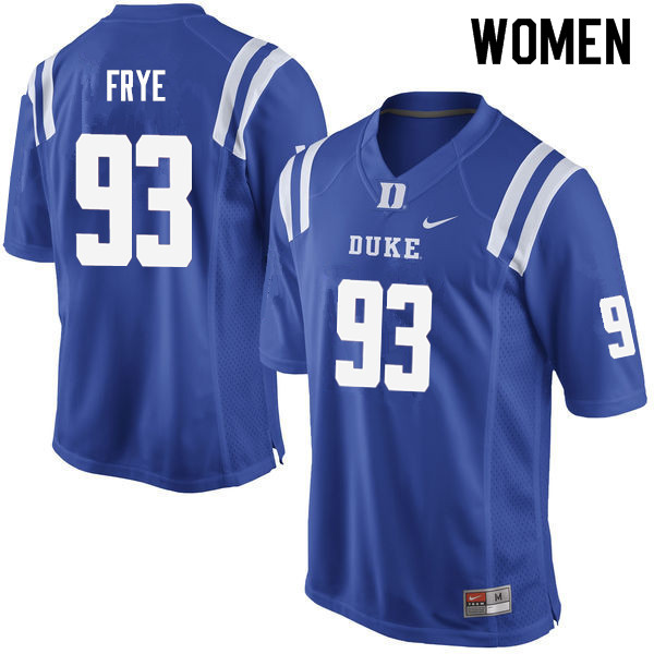 Women #93 Ben Frye Duke Blue Devils College Football Jerseys Sale-Blue