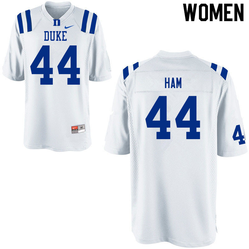 Women #44 Charlie Ham Duke White Devils College Football Jerseys Sale-White