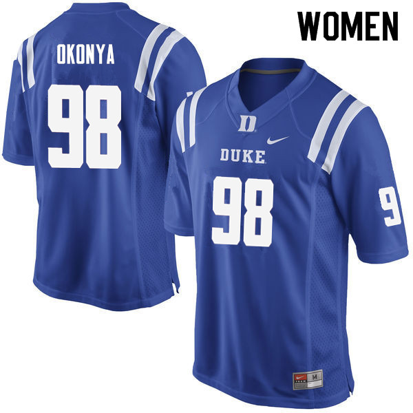 Women #98 Chidi Okonya Duke Blue Devils College Football Jerseys Sale-Blue