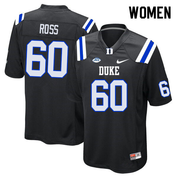 Women #60 Colin Ross Duke Blue Devils College Football Jerseys Sale-Black