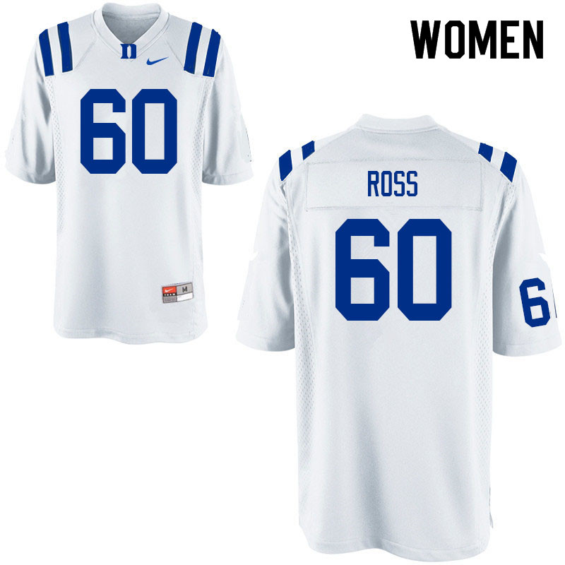 Women #60 Colin Ross Duke Blue Devils College Football Jerseys Sale-White