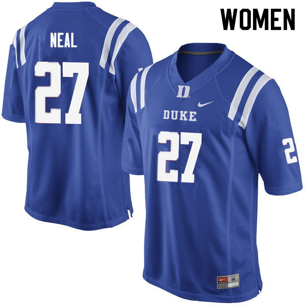 Women #27 Damani Neal Duke Blue Devils College Football Jerseys Sale-Blue